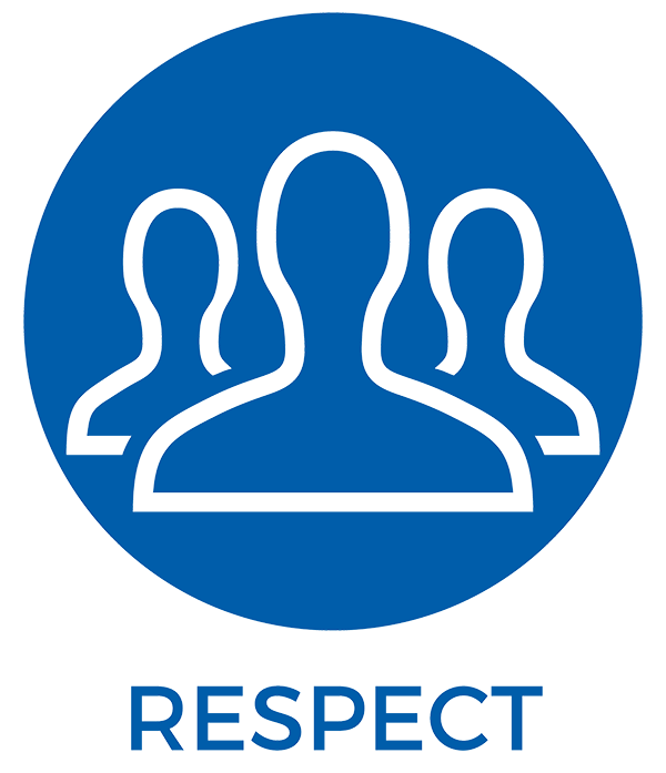 Respect - an icon of people in a blue circle. | MasterCorp