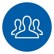Associates - an icon of silhouette of three people in a blue circle. | MasterCorp