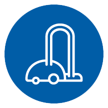 Cleans - an icon of a vacuum cleaner in a blue circle. | MasterCorp