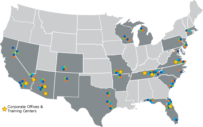 A map of MasterCorp's United States locations with colorful dots and star. | MasterCorp