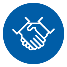 Portfolio - an icon of a handshake in a blue circle. | MasterCorp