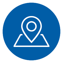 Regional - an icon of a map marker in a blue circle. | MasterCorp