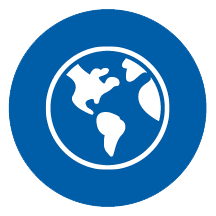 An icon of a globe in a blue circle. | MasterCorp