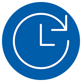 Dependability - an icon of an arrow clock in a blue circle. | MasterCorp