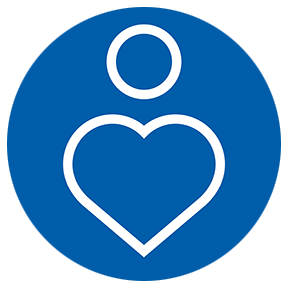 Pride - an icon of heart in a blue circle. | MasterCorp